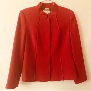 Calvin Klein Red Mandarin Collar Blazer Size 12